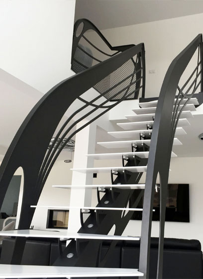 escalier design contemporain droit art nouveau la stylique paris. Black Bedroom Furniture Sets. Home Design Ideas